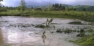 Râul Motru a inundat zeci de hectare de teren