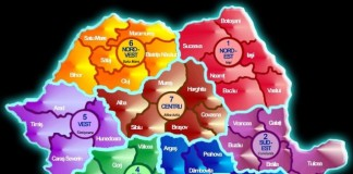 regiunile de dezvoltare, harta