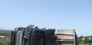 Un TIR care transporta porci s-a răsturnat pe DN 7