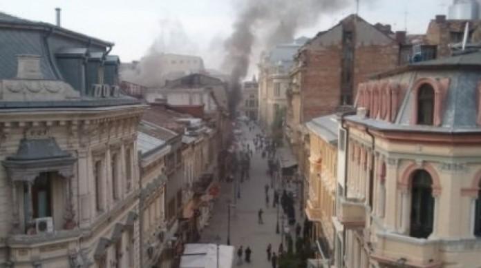 Incendiu în Centrul Vechi al Capitalei: O persoană a fost rănită, iar alte două intoxicate cu fum