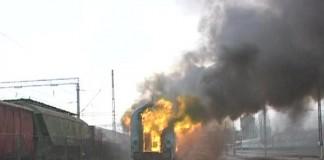 Tren de pasageri în flăcări la Timișoara