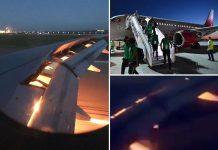 cm rusia 2018, avion, arabia saudita, motor in flacari